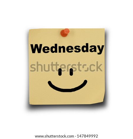text Wednesday on note paper and pin on white background #147849992
