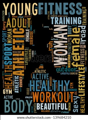 text/word cloud/word collage composed in the shape of a woman running (woman fitness series)