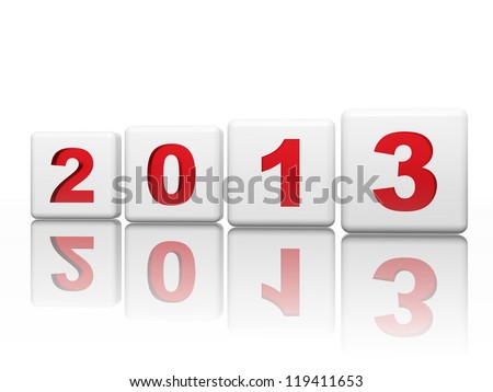 text year 2013 in 3d white cubes with red figures like ciphers