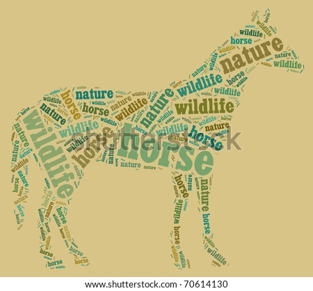 Textcloud: silhouette of horse