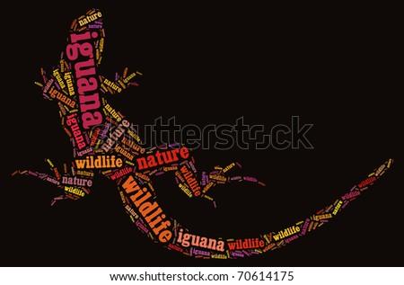 Textcloud: silhouette of iguana