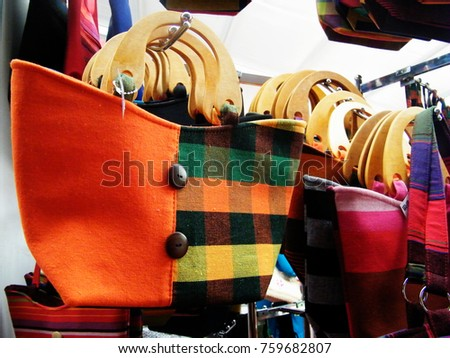 Textile bag in Sri Lanka.Hand Beach bag isolated.Hand loom work in Sri Lanka.Tourism industry and bag.Linen Color bag for sell.Art and craft items.Handicraft items. #759682807