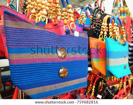 Textile bag in Sri Lanka.Hand Beach bag isolated.Hand loom work in Sri Lanka.Tourism industry and bag.Linen Color bag for sell.Art and craft items.Handicraft items. #759682816