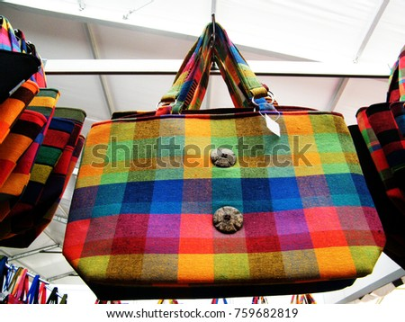 Textile bag in Sri Lanka.Hand Beach bag isolated.Hand loom work in Sri Lanka.Tourism industry and bag.Linen Color bag for sell.Art and craft items.Handicraft items. #759682819