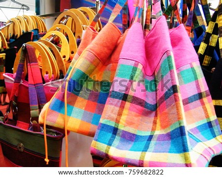 Textile bag in Sri Lanka.Hand Beach bag isolated.Hand loom work in Sri Lanka.Tourism industry and bag.Linen Color bag for sell.Art and craft items.Handicraft items. #759682822