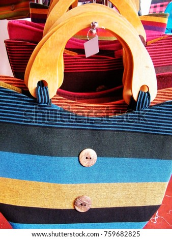 Textile bag in Sri Lanka.Hand Beach bag isolated.Hand loom work in Sri Lanka.Tourism industry and bag.Linen Color bag for sell.Art and craft items.Handicraft items. #759682825