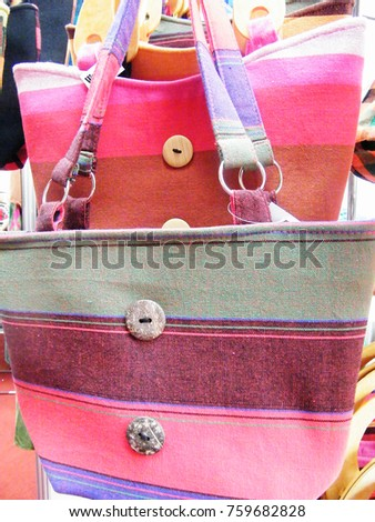Textile bag in Sri Lanka.Hand Beach bag isolated.Hand loom work in Sri Lanka.Tourism industry and bag.Linen Color bag for sell.Art and craft items.Handicraft items. #759682828