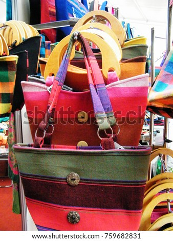 Textile bag in Sri Lanka.Hand Beach bag isolated.Hand loom work in Sri Lanka.Tourism industry and bag.Linen Color bag for sell.Art and craft items.Handicraft items. #759682831