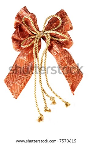textile christmas ribbon isolated on white