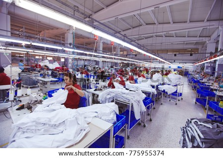Textile cloth factory working process tailoring workers equipment  - Shutterstock ID 775955374
