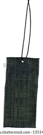Textile denim prise label with lace isolated on white