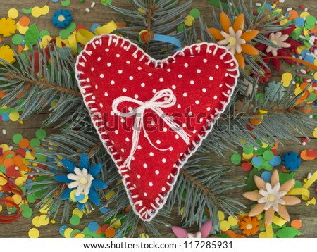 textile heart in the holiday decoration