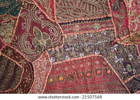 textile made from sari offcuts antique