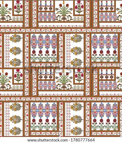 textile Meghal flower design. textile motif flower design.   Stock fotó ©