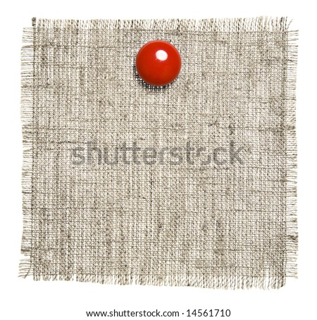 Textile Patch With Red Clip Isolated On White Background. Ready for your message.