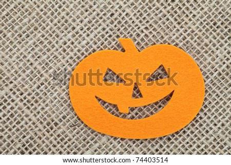 Textile pumpkin for Halloween - stock photo