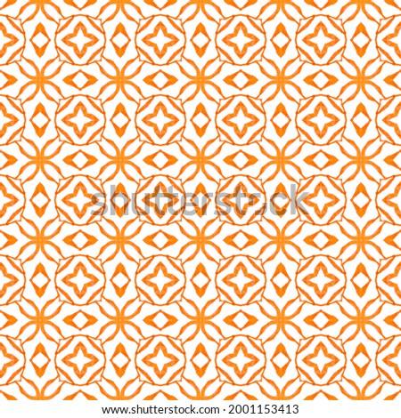 Textile ready ecstatic print, swimwear fabric, wallpaper, wrapping. Orange cool boho chic summer design. Summer exotic seamless border. Exotic seamless pattern. Foto stock ©