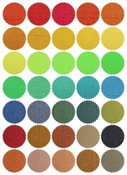 Textile samples color chart. Isolated on white background.