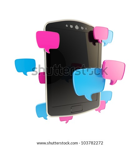 Texting: mobile phone concept surrounded with sms text cloud bubble icons illustration isolated on white