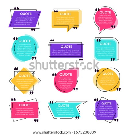 Texting quotes frames. Text box template, quote modern citation speech bubble and social network quotes dialogue boxes. Remark text frames template  isolated icons set. Quotations backgrounds