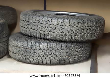 Texture and patterns of a set of tires.