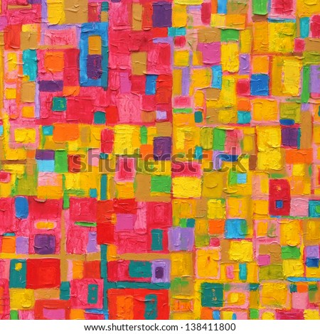 Texture, Background And Colorful Image Of An Original Abstract Painting On Canvas