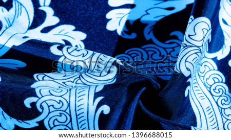 texture, background, black silk fabric with a monogram pattern Exquisite pattern of filigree fabric your design will delight you for a long time #1396688015
