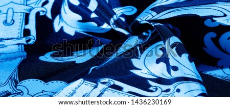 texture, background, black silk fabric with a monogram pattern Exquisite pattern of filigree fabric your design will delight you for a long time #1436230169