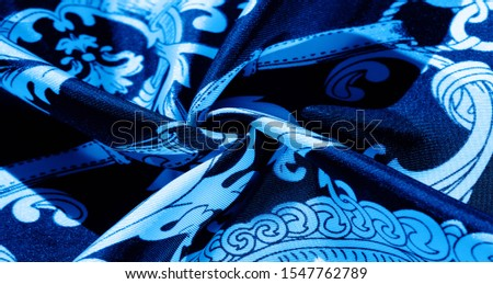 texture, background, black silk fabric with a monogram pattern Exquisite pattern of filigree fabric your design will delight you for a long time #1547762789