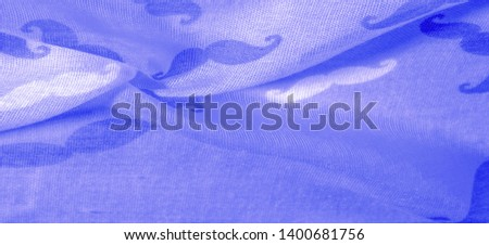 Texture Background, Blue Silk Fabric with Painted Cartoon Mustache, Geekly Mustache Cream, Geekly Mustache White