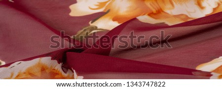 Texture, background, burgundy silk fabric with a pink floral print. Your projects are developed in our studio by designers who have deep knowledge in the use of their final product. #1343747822