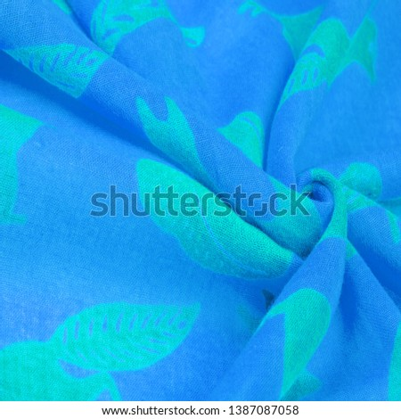 Texture, background, cotton fabric thin blue with a print of squirrels, martens, sables. Pattern, Decor, Textile, Art, with this fabric you immerse yourself in the world of Rokashi and prosperity #1387087058