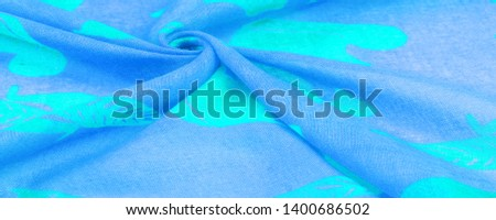 Texture, background, cotton fabric thin blue with a print of squirrels, martens, sables. Pattern, Decor, Textile, Art, with this fabric you immerse yourself in the world of Rokashi and prosperity #1400686502