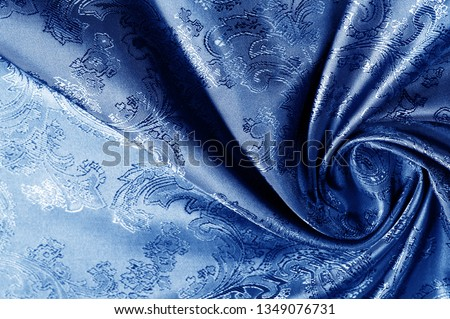 texture, background, dark blue, navy blue, sapphirine,  blushful fabric with a paisley pattern. based on traditional Asian elements #1349076731