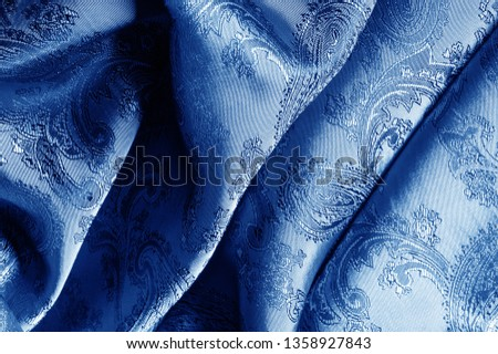 texture, background, dark blue, navy blue, sapphirine,  blushful fabric with a paisley pattern. based on traditional Asian elements #1358927843