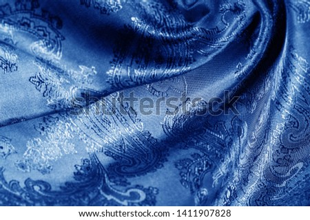 texture, background, dark blue, navy blue, sapphirine,  blushful fabric with a paisley pattern. based on traditional Asian elements #1411907828