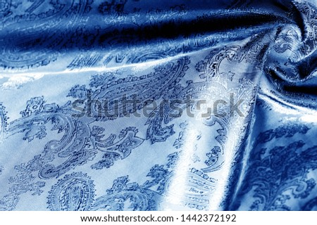 texture, background, dark blue, navy blue, sapphirine,  blushful fabric with a paisley pattern. based on traditional Asian elements #1442372192