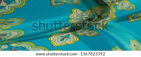 texture, background, multicolored silk fabric with a pattern of patterns on a turquoise background, #1367823392