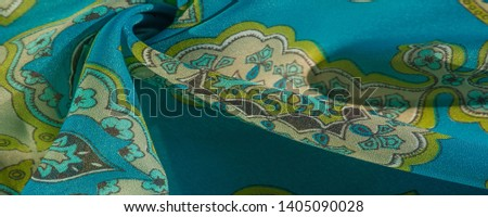 texture, background, multicolored silk fabric with a pattern of patterns on a turquoise background, #1405090028
