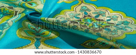 texture, background, multicolored silk fabric with a pattern of patterns on a turquoise background, #1430836670