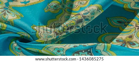 texture, background, multicolored silk fabric with a pattern of patterns on a turquoise background, #1436085275