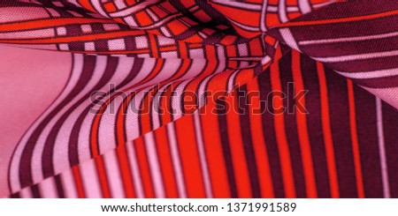 Texture, background, pattern, brown silk fabric, geometric lines, a pattern of tribal straight lines of different shades, geometric pattern, set for your projects, red and white #1371991589