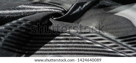 texture, background, pattern, collection, light transparent silk fabric with stripes of different size, black. exquisite luxury for your holiday! #1424640089
