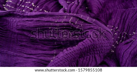 Texture background pattern, decor ornament, dark lilac corrugated fabric of blue cent, Fabric with parallel or diagonal folds of dentate folds; products from such a fabric. #1579855108