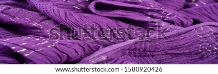 Texture background pattern, decor ornament, dark lilac corrugated fabric of blue cent, Fabric with parallel or diagonal folds of dentate folds; products from such a fabric. #1580920426