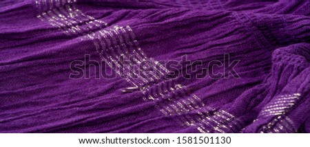 Texture background pattern, decor ornament, dark lilac corrugated fabric of blue cent, Fabric with parallel or diagonal folds of dentate folds; products from such a fabric. #1581501130