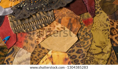 texture background pattern. decorative animal skin, bright colors painted. The panel is made by the artist. Screen printing on the skin of the animal This patterned animal is perfect for your design #1304385283
