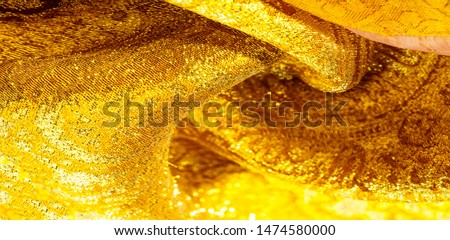 Texture background, pattern. fabric; yellow gold brocade. Organza brocade fabric - shepherd, with a crunchy palm.  #1474580000