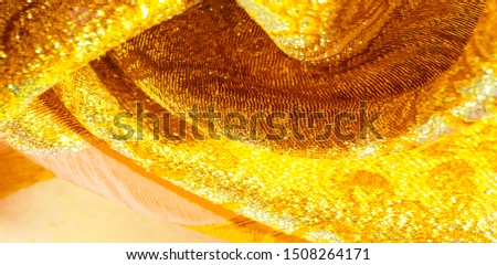 Texture background, pattern. fabric; yellow gold brocade. Organza brocade fabric - shepherd, with a crunchy palm. It has a large yarn-dyed flower embroidered pattern throughout. #1508264171