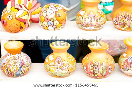 Texture Background pattern. Folk art Articles made of clay Hobbies and Creativity is a process of human activity that helps to develop the outlook and express the creative aspects of one's personality